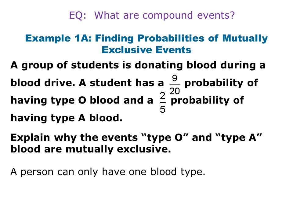 Recall that the intersection symbol  means and. Remember! EQ: What are compound events?