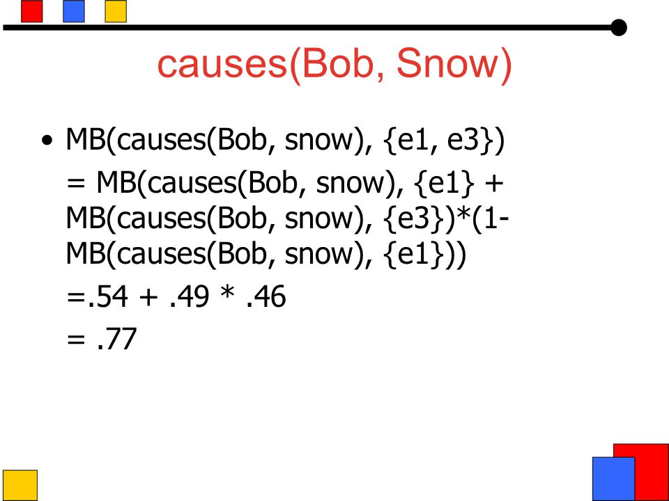 causes(Bob, Snow) MB(causes(Bob, snow), {e1, e3}) = MB(causes(Bob, snow), {e1} + MB(causes(Bob, snow), {e3})*(1- MB(causes(Bob, snow), {e1})) =.54 +.49 *.46 =.77