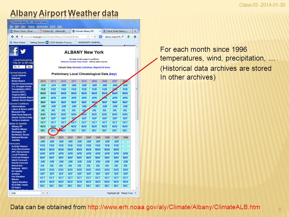 Class 03 -2014-01-30 6 Data can be obtained from http://www.erh.noaa.gov/aly/Climate/Albany/ClimateALB.htm For each month since 1996 temperatures, wind, precipitation, … (Historical data archives are stored In other archives)