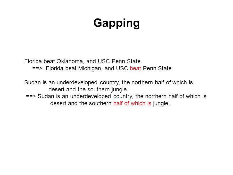 Gapping Florida beat Oklahoma, and USC Penn State.