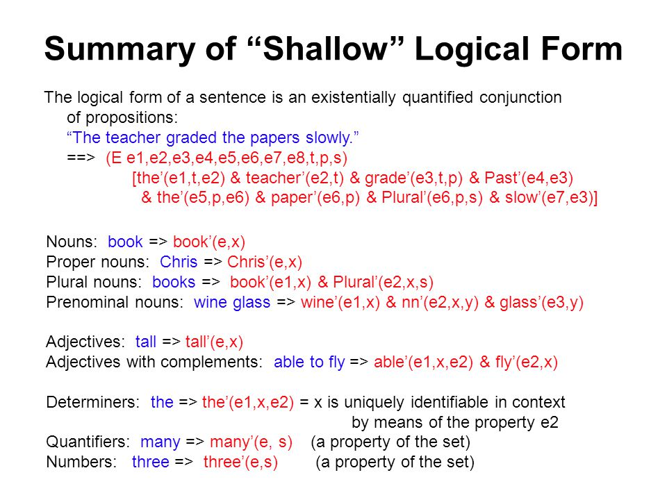 Summary of Shallow Logical Form The logical form of a sentence is an existentially quantified conjunction of propositions: The teacher graded the papers slowly. ==> (E e1,e2,e3,e4,e5,e6,e7,e8,t,p,s) [the'(e1,t,e2) & teacher'(e2,t) & grade'(e3,t,p) & Past'(e4,e3) & the'(e5,p,e6) & paper'(e6,p) & Plural'(e6,p,s) & slow'(e7,e3)] Nouns: book => book'(e,x) Proper nouns: Chris => Chris'(e,x) Plural nouns: books => book'(e1,x) & Plural'(e2,x,s) Prenominal nouns: wine glass => wine'(e1,x) & nn'(e2,x,y) & glass'(e3,y) Adjectives: tall => tall'(e,x) Adjectives with complements: able to fly => able'(e1,x,e2) & fly'(e2,x) Determiners: the => the'(e1,x,e2) = x is uniquely identifiable in context by means of the property e2 Quantifiers: many => many'(e, s) (a property of the set) Numbers: three => three'(e,s) (a property of the set)