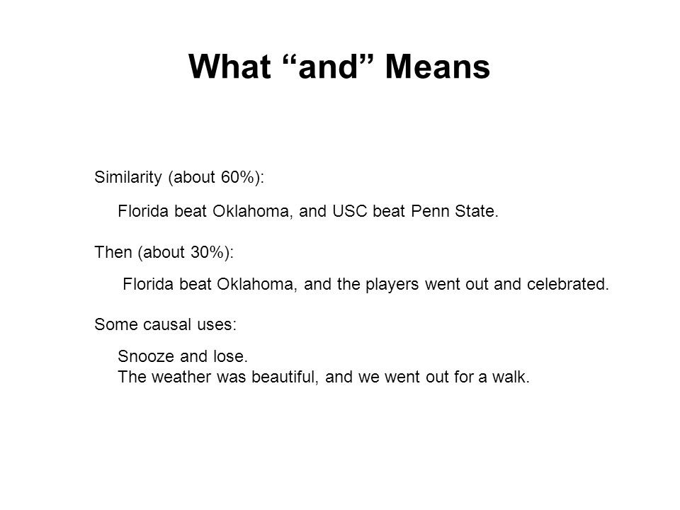 What and Means Similarity (about 60%): Florida beat Oklahoma, and USC beat Penn State.