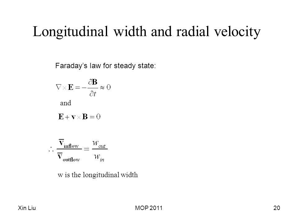 Xin LiuMOP 201120 Longitudinal width and radial velocity Faraday's law for steady state: and w is the longitudinal width
