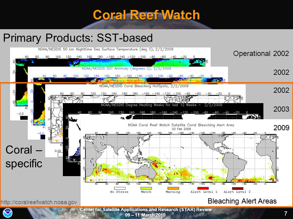 Center for Satellite Applications and Research (STAR) Review 09 – 11 March 2010 7 Coral Reef Watch Primary Products: SST-based Coral – specific http:/