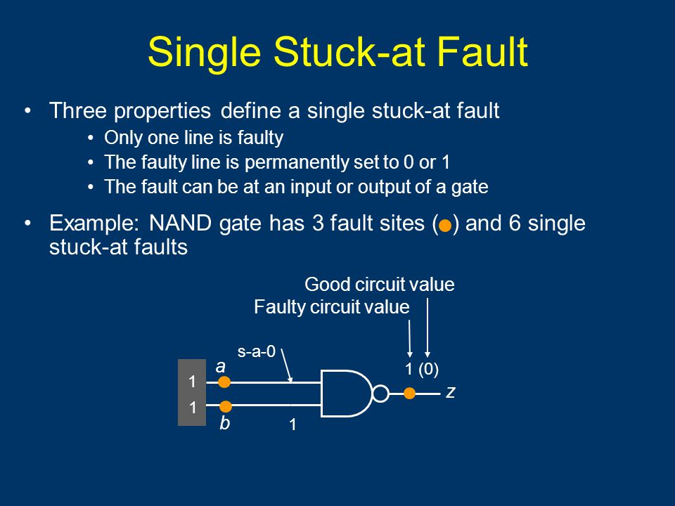 Single Stuck-at Fault Three properties define a single stuck-at fault Only one line is faulty The faulty line is permanently set to 0 or 1 The fault can be at an input or output of a gate Example: NAND gate has 3 fault sites ( ) and 6 single stuck-at faults a b 1 1 z 1 (0) 1 Faulty circuit value Good circuit value s-a-0