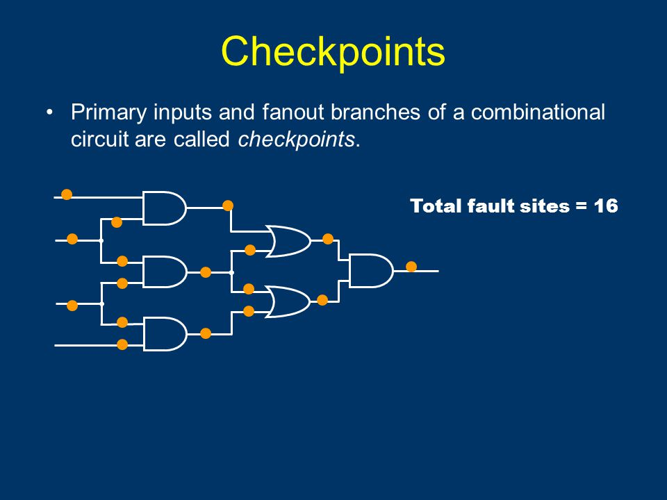 Checkpoints Primary inputs and fanout branches of a combinational circuit are called checkpoints.