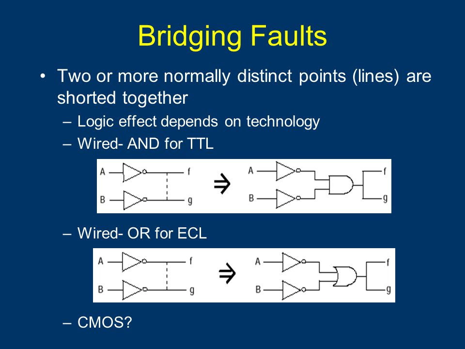 Bridging Faults Two or more normally distinct points (lines) are shorted together –Logic effect depends on technology –Wired- AND for TTL –Wired- OR for ECL –CMOS
