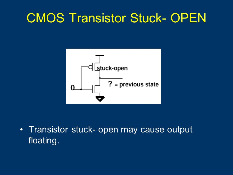 CMOS Transistor Stuck- OPEN Transistor stuck- open may cause output floating.