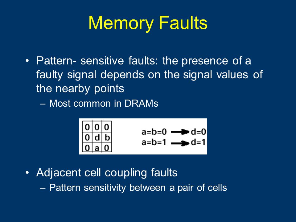 Memory Faults Pattern- sensitive faults: the presence of a faulty signal depends on the signal values of the nearby points –Most common in DRAMs Adjacent cell coupling faults –Pattern sensitivity between a pair of cells