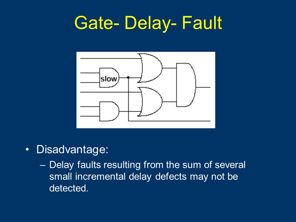 Gate- Delay- Fault Disadvantage: –Delay faults resulting from the sum of several small incremental delay defects may not be detected.