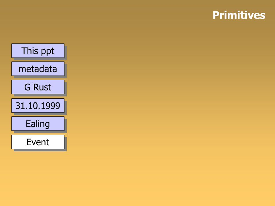 This ppt metadata Primitives 31.10.1999 G Rust Ealing Event
