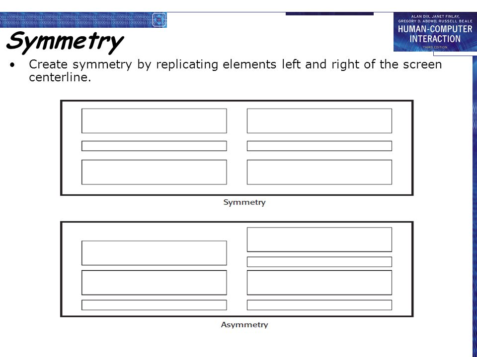 Symmetry Create symmetry by replicating elements left and right of the screen centerline.
