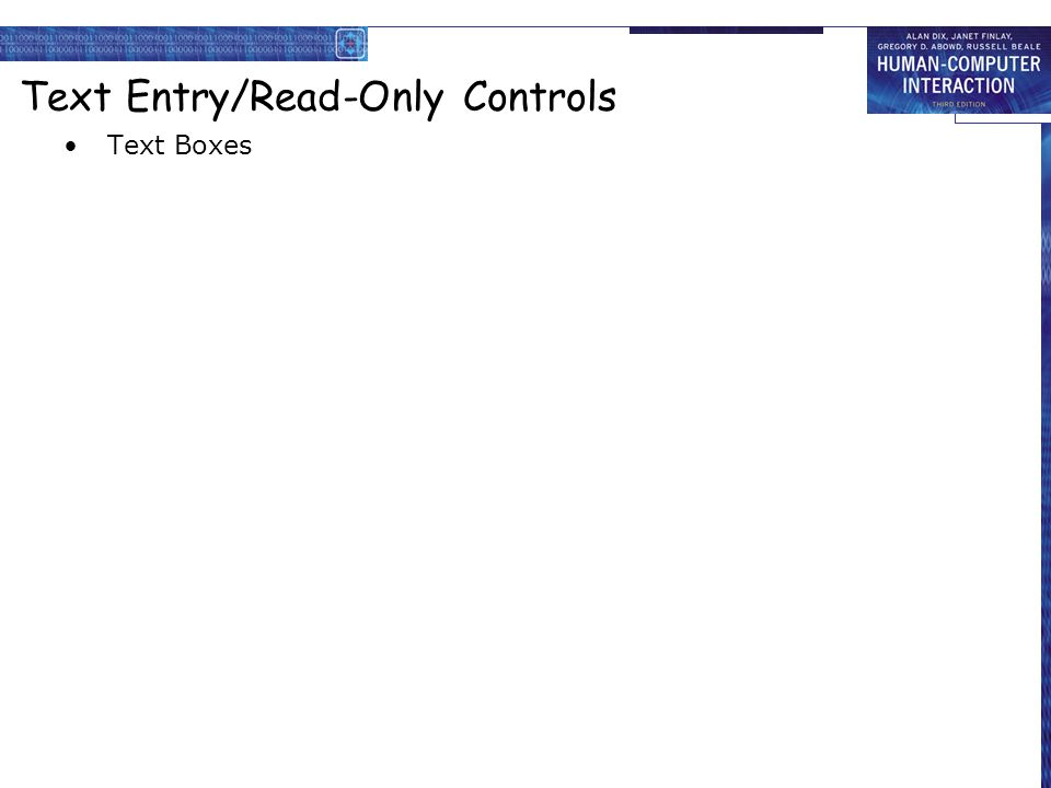 Text Entry/Read-Only Controls Text Boxes
