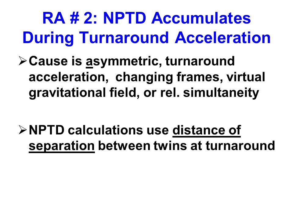 RA # 2: NPTD Accumulates During Turnaround Acceleration  Cause is asymmetric, turnaround acceleration, changing frames, virtual gravitational field, or rel.