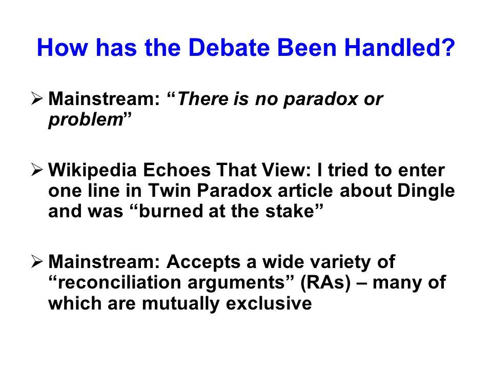 How has the Debate Been Handled.