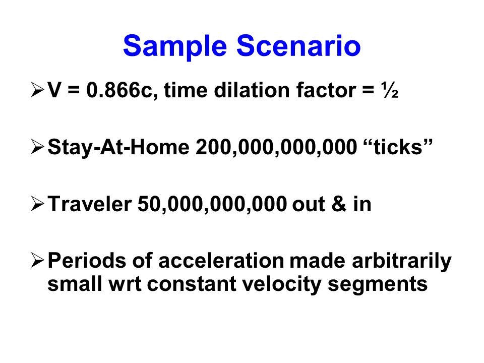 """Sample Scenario  V = 0.866c, time dilation factor = ½  Stay-At-Home 200,000,000,000 """"ticks""""  Traveler 50,000,000,000 out & in  Periods of accelera"""