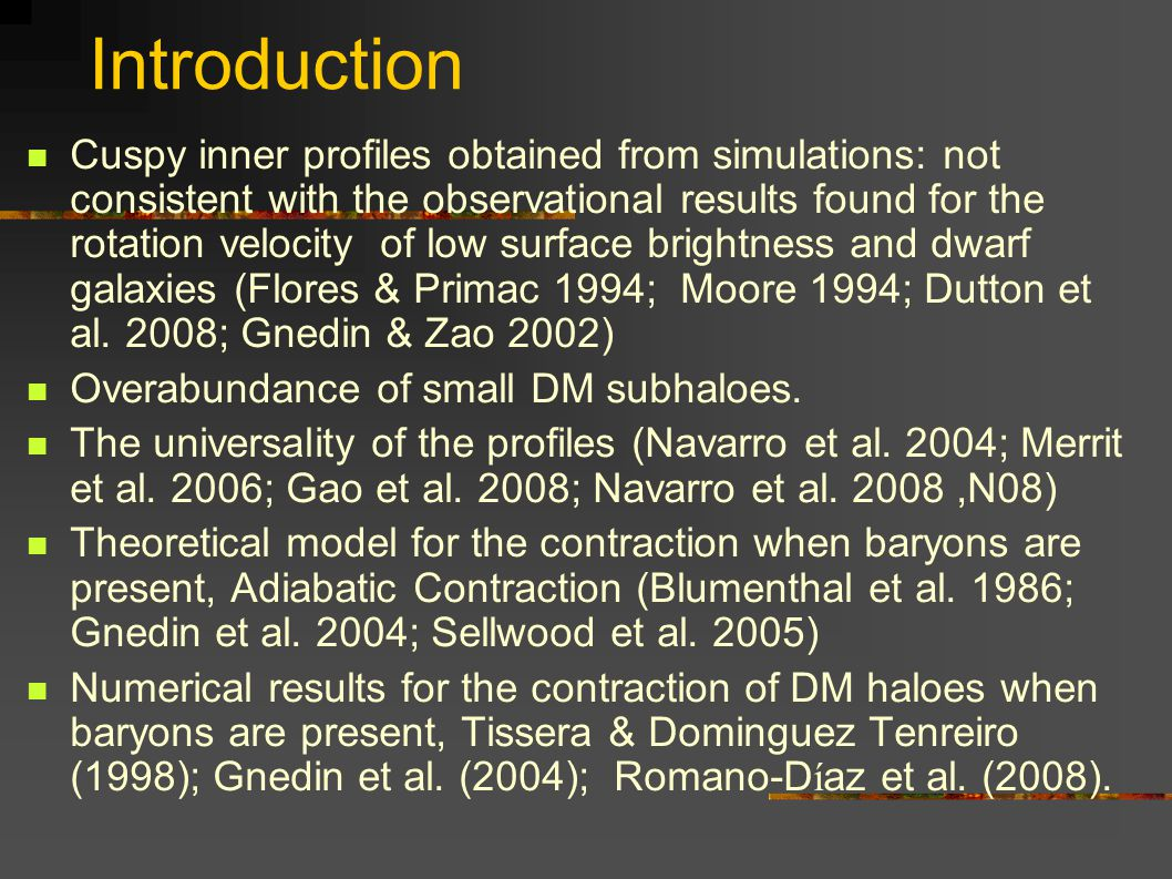 Introduction Cuspy inner profiles obtained from simulations: not consistent with the observational results found for the rotation velocity of low surface brightness and dwarf galaxies (Flores & Primac 1994; Moore 1994; Dutton et al.