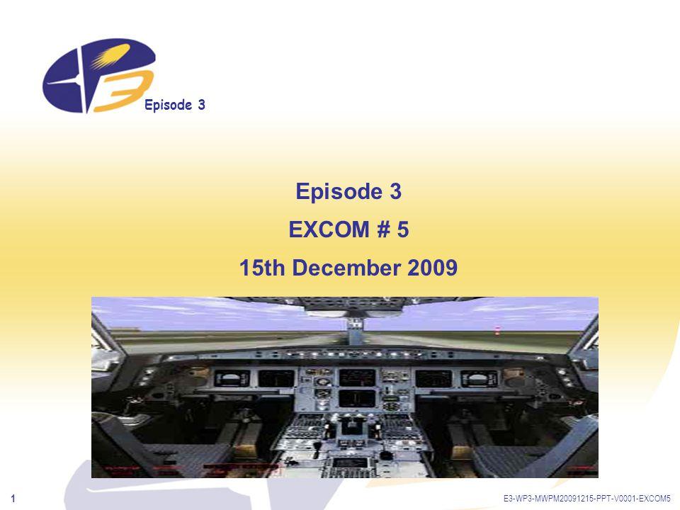 Episode 3 E3-WP3-MWPM20091215-PPT-V0001-EXCOM5 2 Agenda TimeTopicWho leads 10:00-10:10WelcomeK.