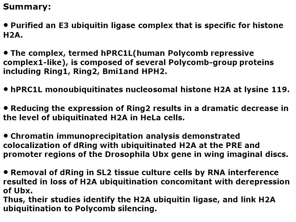 Summary: ● Purified an E3 ubiquitin ligase complex that is specific for histone H2A.