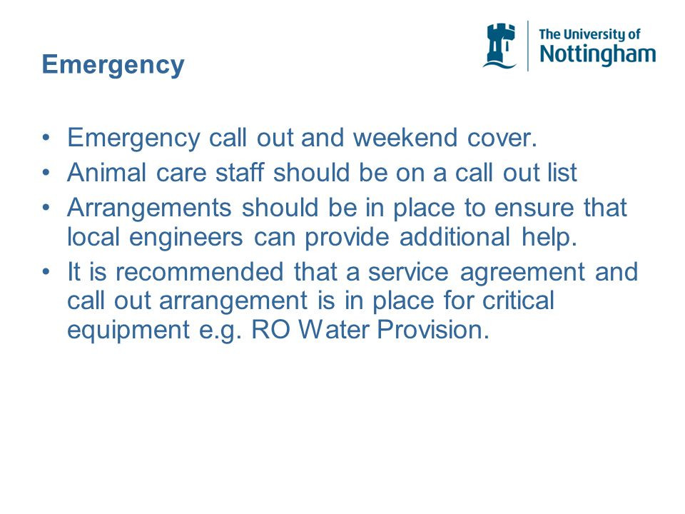 Emergency Emergency call out and weekend cover.