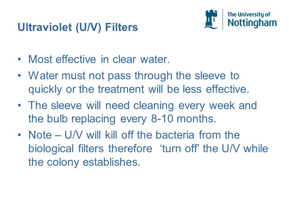 Ultraviolet (U/V) Filters Most effective in clear water.