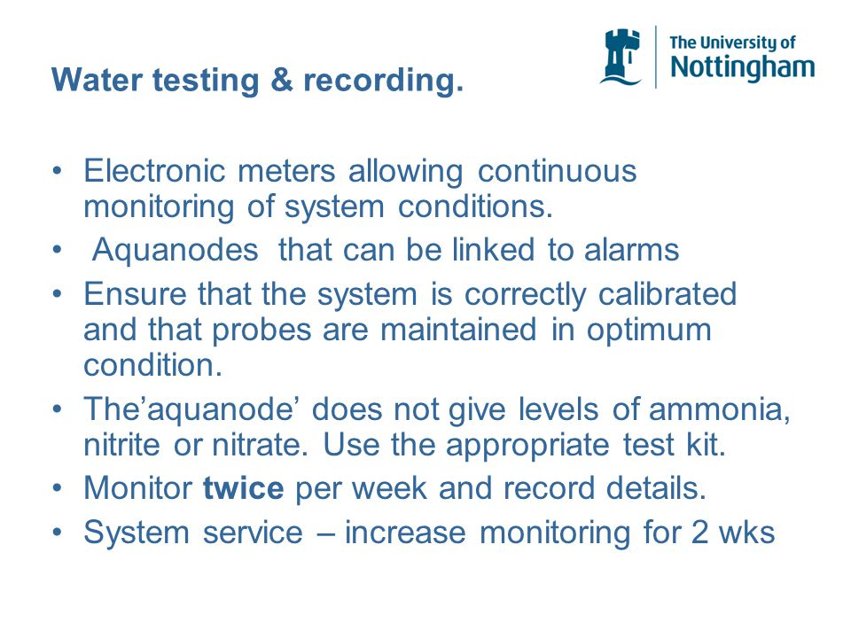 Water testing & recording. Electronic meters allowing continuous monitoring of system conditions.