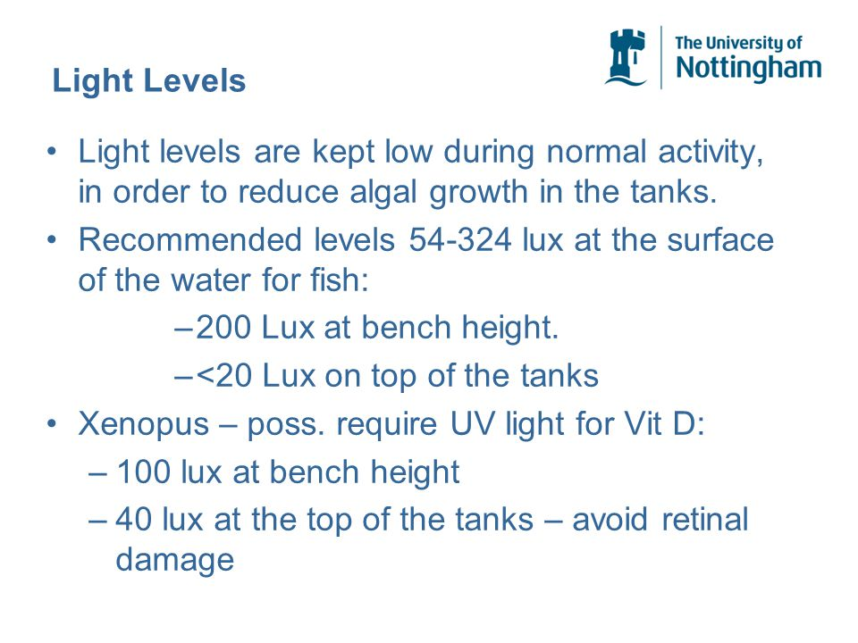 Light Levels Light levels are kept low during normal activity, in order to reduce algal growth in the tanks.