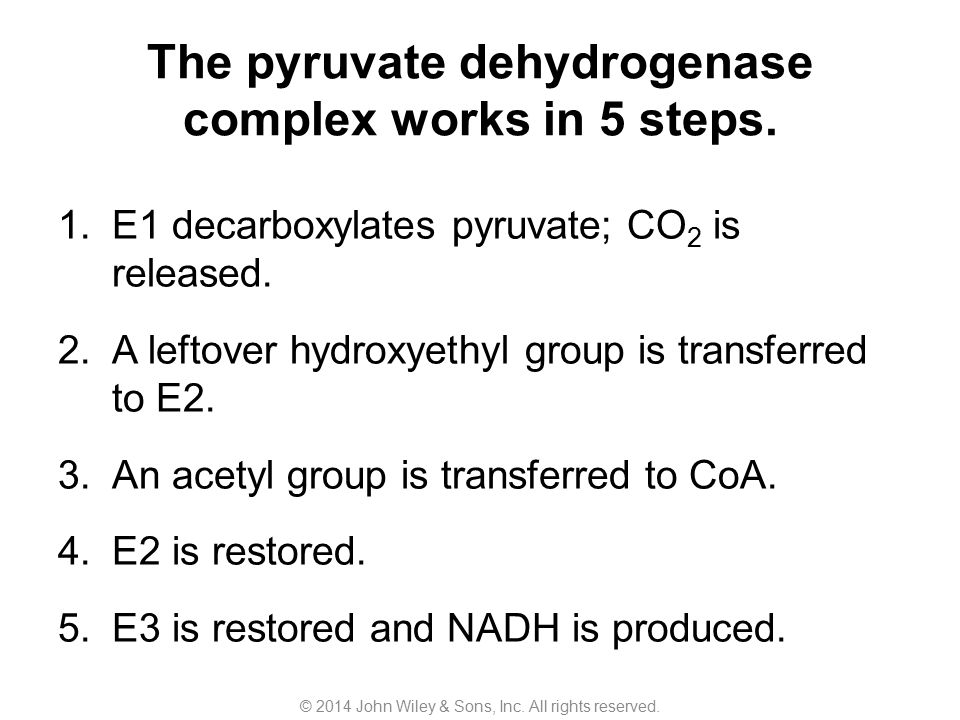 The pyruvate dehydrogenase complex works in 5 steps. 1.E1 decarboxylates pyruvate; CO 2 is released. 2.A leftover hydroxyethyl group is transferred to