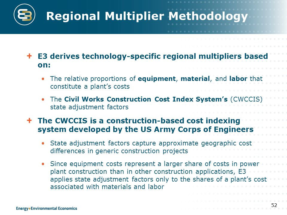 Regional Multiplier Methodology E3 derives technology-specific regional multipliers based on: The relative proportions of equipment, material, and lab