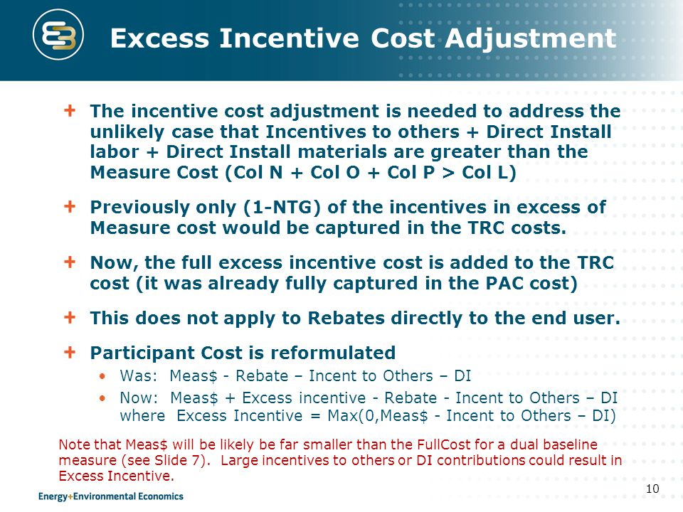 Excess Incentive Cost Adjustment The incentive cost adjustment is needed to address the unlikely case that Incentives to others + Direct Install labor + Direct Install materials are greater than the Measure Cost (Col N + Col O + Col P > Col L) Previously only (1-NTG) of the incentives in excess of Measure cost would be captured in the TRC costs.