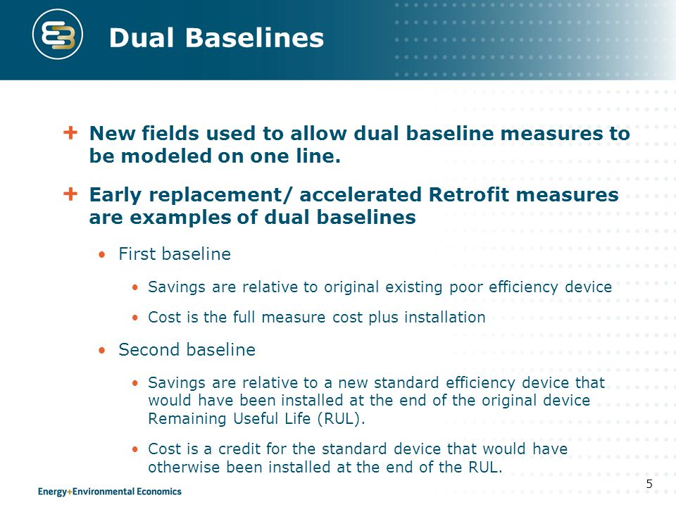 Dual Baseline Savings Program savings (kWh, kW, Therms, Co2 etc) are re-expressed as the weighted average savings to reflect dual baseline measures.