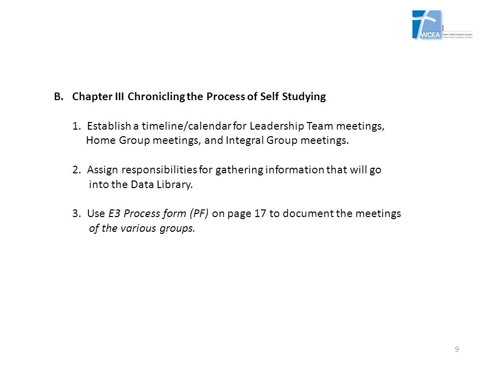 E3 Chapter IV – Findings (continued) Written Requirements: Catholic Identity Standards – page 42 School Organization Standards—page 45 Teaching and Learning Standards – page 48 Student Support Standards – page 51 Material Stewardship Standards – page 55 20
