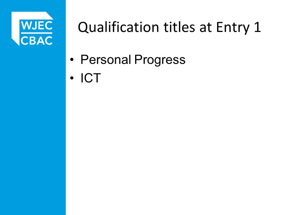 Qualification titles at Entry 1 Personal Progress ICT