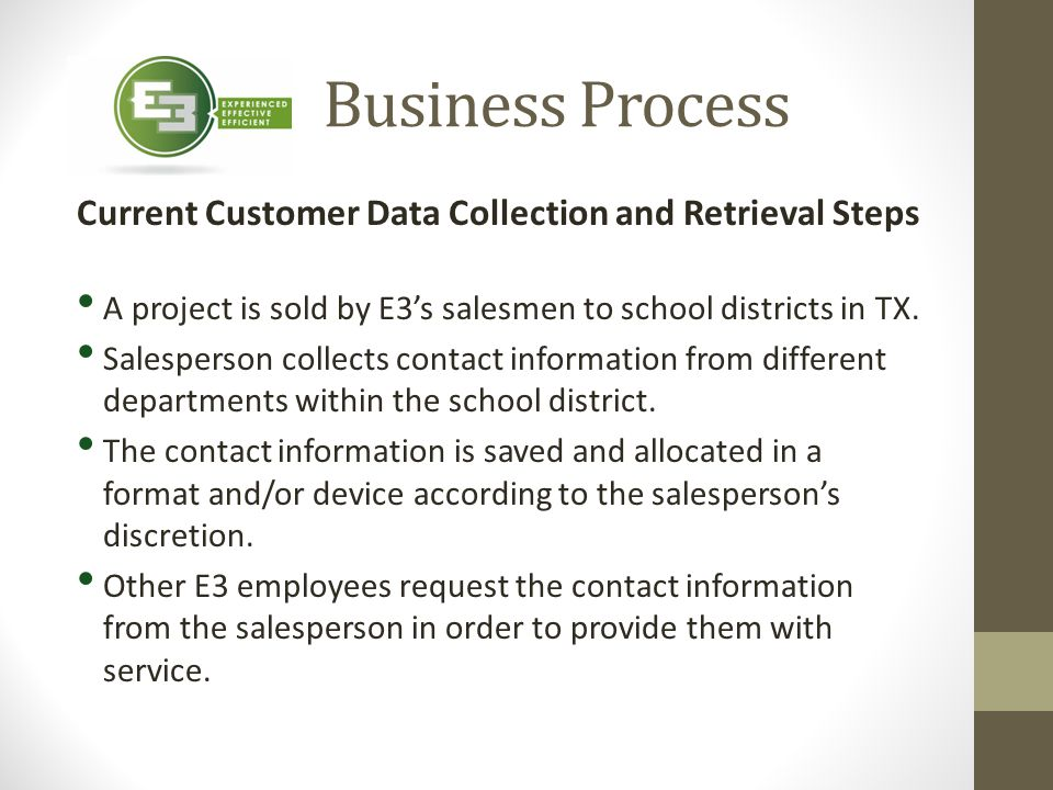 Business Process Current Customer Data Collection and Retrieval Steps A project is sold by E3's salesmen to school districts in TX. Salesperson collec