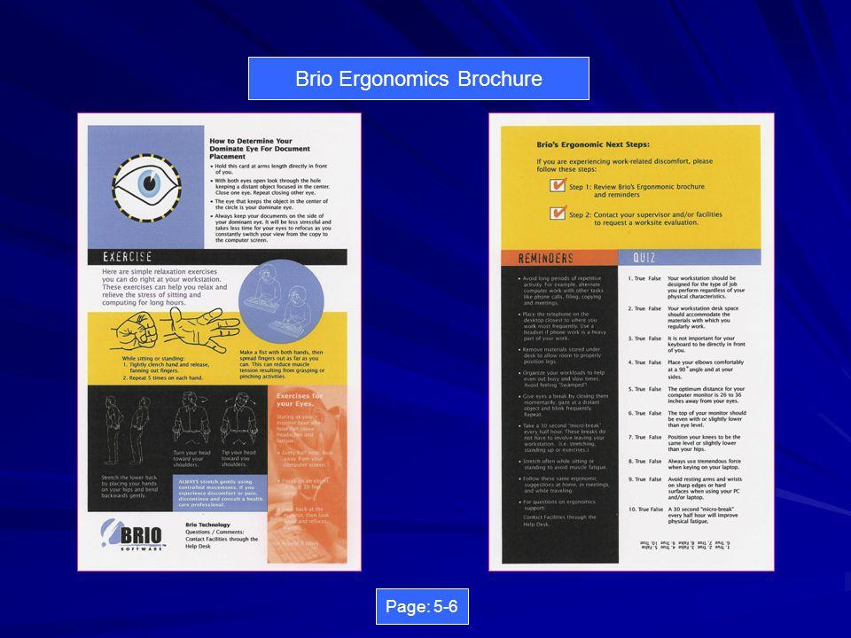 Brio Ergonomics Brochure Page: 3-4
