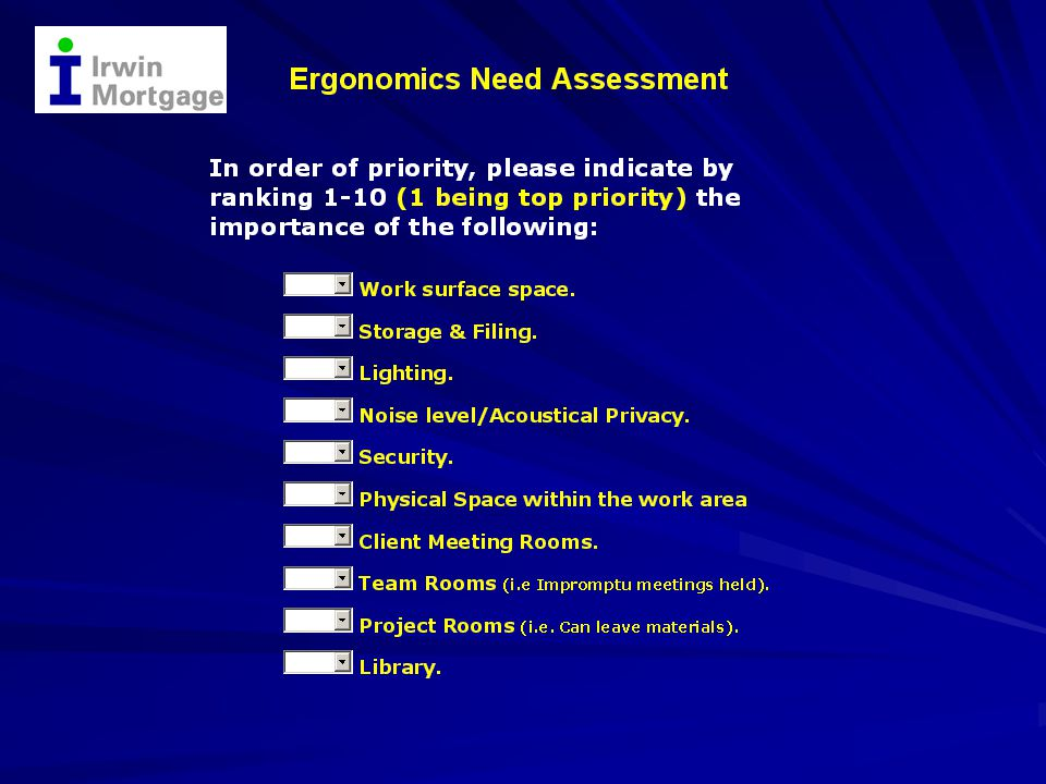 Ergonomics Need Assessment Ergonomics Need Assessment Focused on Loan Processors: 8+ hours on the Computer per day High % of Filing & Phone Use per day Close an Average of 20 Loans per month Existing Space is cramped & insufficient Number #1 complaint is Eyestrain