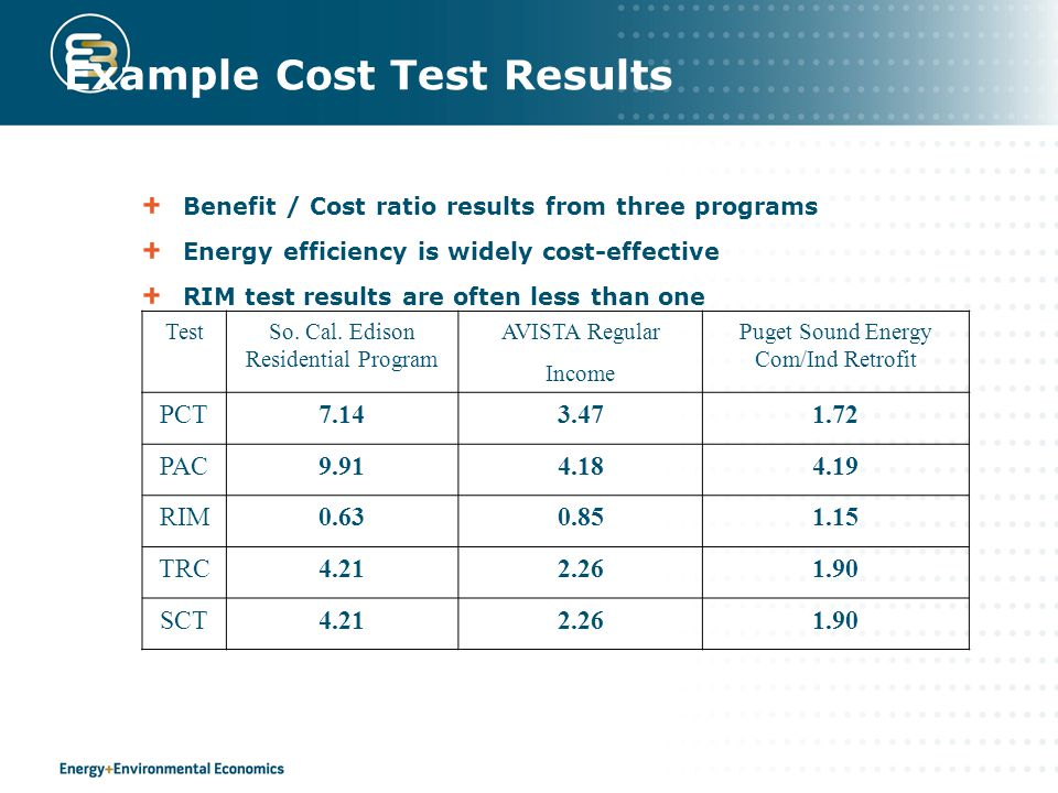 Example Cost Test Results Benefit / Cost ratio results from three programs Energy efficiency is widely cost-effective RIM test results are often less than one TestSo.