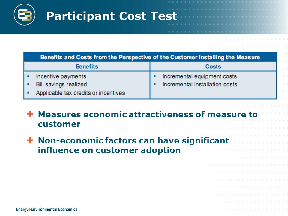 Participant Cost Test Measures economic attractiveness of measure to customer Non-economic factors can have significant influence on customer adoption