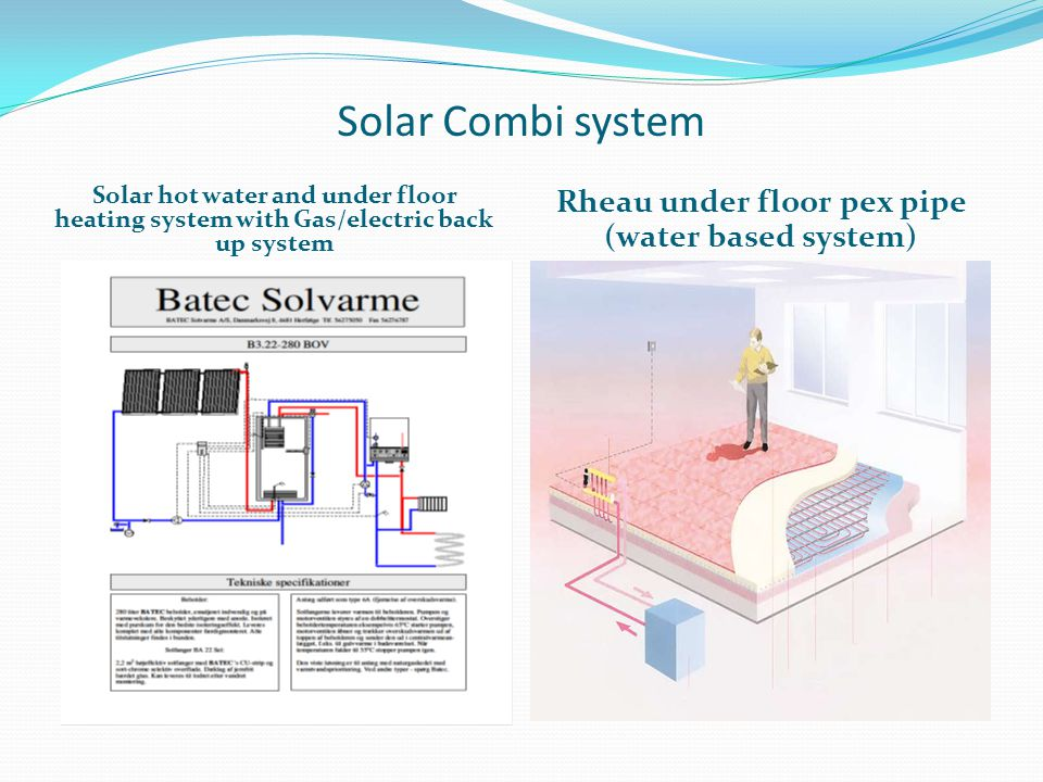 Solar Combi system Solar hot water and under floor heating system with Gas/electric back up system Rheau under floor pex pipe (water based system)