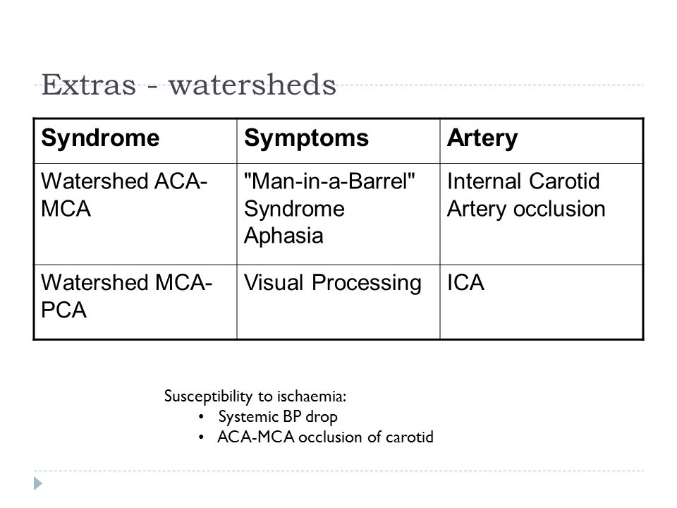 Extras - watersheds SyndromeSymptomsArtery Watershed ACA- MCA Man-in-a-Barrel Syndrome Aphasia Internal Carotid Artery occlusion Watershed MCA- PCA Visual ProcessingICA Susceptibility to ischaemia: Systemic BP drop ACA-MCA occlusion of carotid