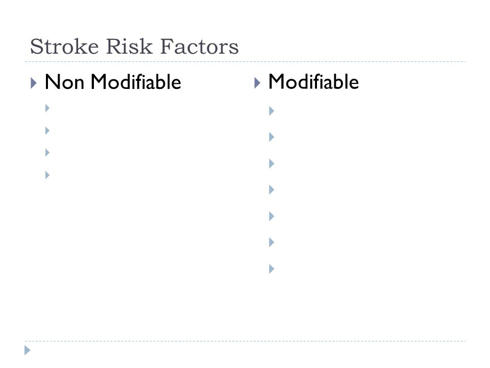 Stroke Risk Factors  Non Modifiable   Modifiable 