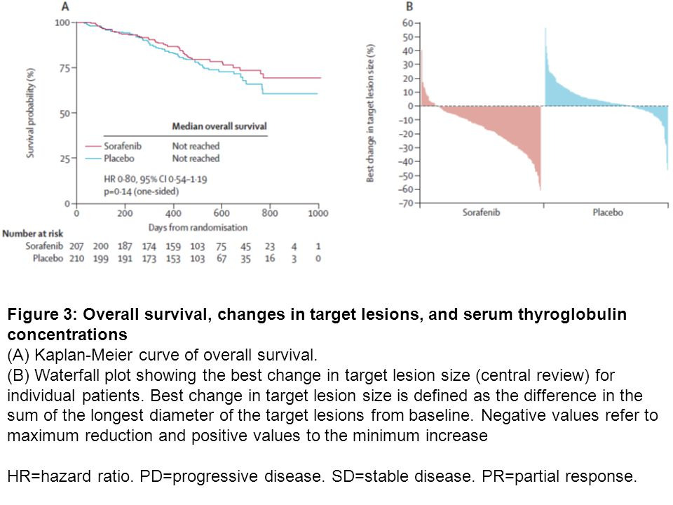 Figure 3: Overall survival, changes in target lesions, and serum thyroglobulin concentrations (A) Kaplan-Meier curve of overall survival. (B) Waterfal