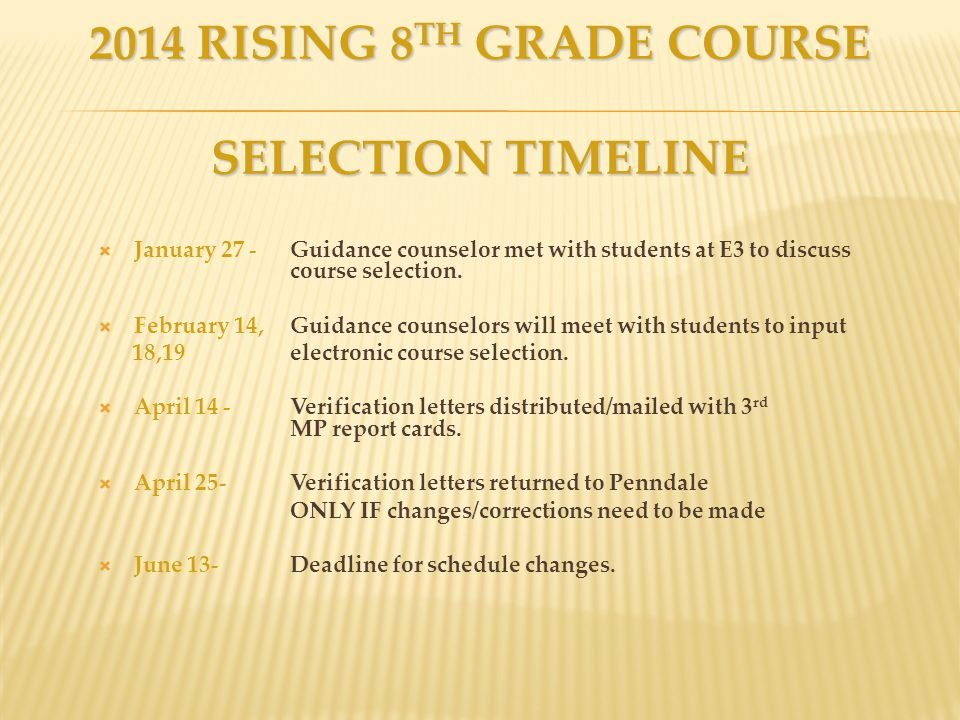 2014 RISING 8 TH GRADE COURSE SELECTION TIMELINE  January 27 - Guidance counselor met with students at E3 to discuss course selection.  February 14,