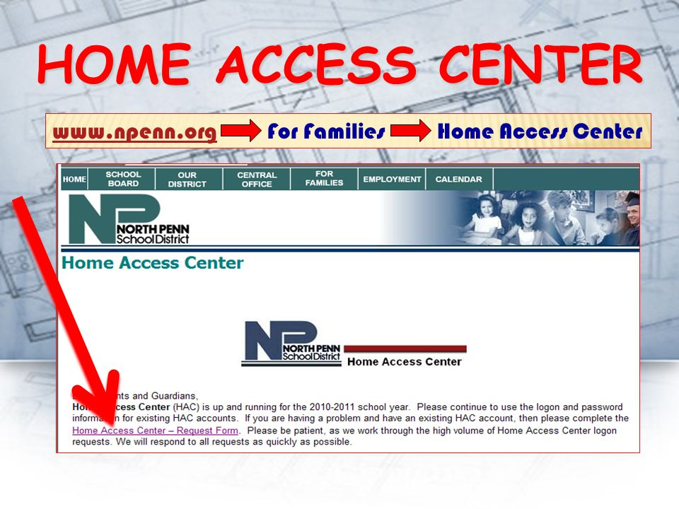 HOME ACCESS CENTER www.npenn.orgwww.npenn.org For Families Home Access Center