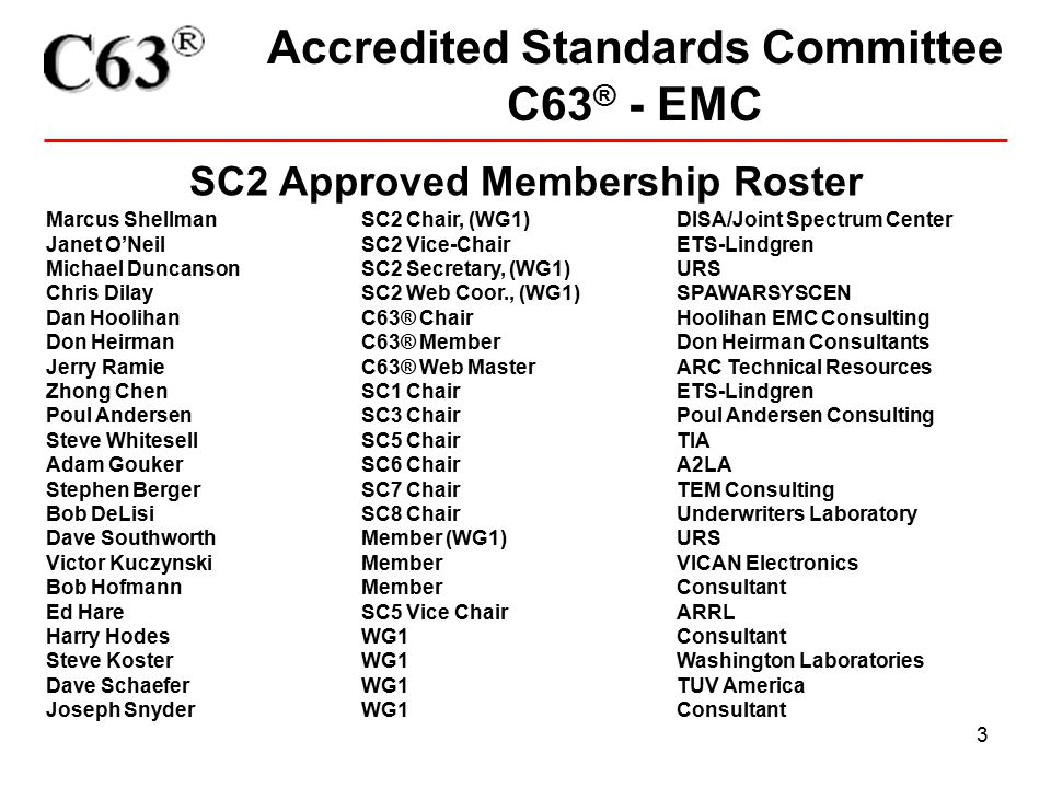 3 Accredited Standards Committee C63 ® - EMC SC2 Approved Membership Roster Marcus Shellman SC2 Chair, (WG1)DISA/Joint Spectrum Center Janet O'Neil SC