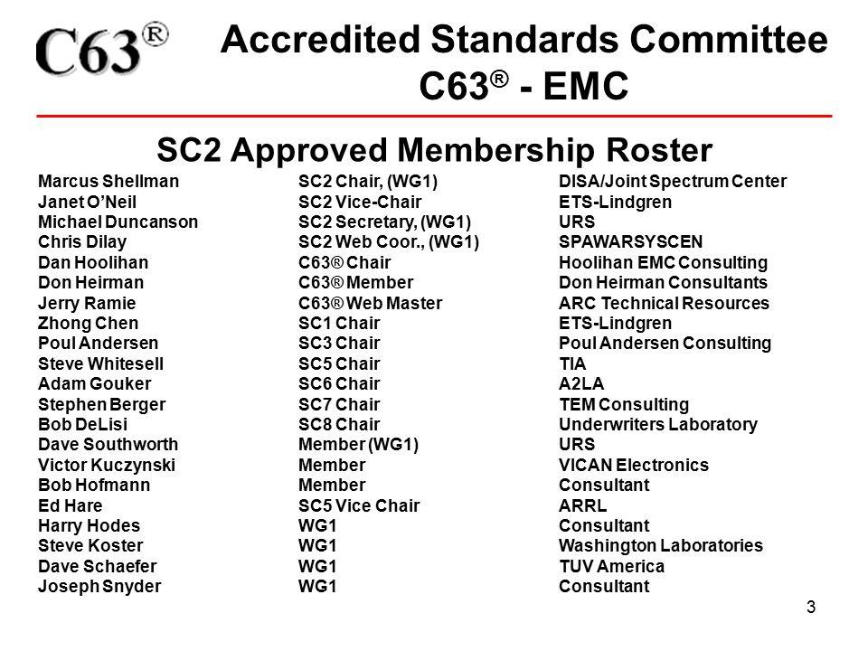 3 Accredited Standards Committee C63 ® - EMC SC2 Approved Membership Roster Marcus Shellman SC2 Chair, (WG1)DISA/Joint Spectrum Center Janet O'Neil SC2 Vice-ChairETS-Lindgren Michael Duncanson SC2 Secretary, (WG1)URS Chris Dilay SC2 Web Coor., (WG1) SPAWARSYSCEN Dan Hoolihan C63® ChairHoolihan EMC Consulting Don Heirman C63® Member Don Heirman Consultants Jerry RamieC63® Web Master ARC Technical Resources Zhong Chen SC1 Chair ETS-Lindgren Poul Andersen SC3 Chair Poul Andersen Consulting Steve WhitesellSC5 ChairTIA Adam GoukerSC6 ChairA2LA Stephen Berger SC7 ChairTEM Consulting Bob DeLisi SC8 Chair Underwriters Laboratory Dave SouthworthMember (WG1)URS Victor Kuczynski MemberVICAN Electronics Bob Hofmann Member Consultant Ed HareSC5 Vice ChairARRL Harry Hodes WG1 Consultant Steve Koster WG1 Washington Laboratories Dave Schaefer WG1 TUV America Joseph SnyderWG1 Consultant