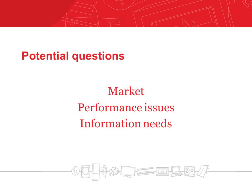 Potential questions Market Performance issues Information needs