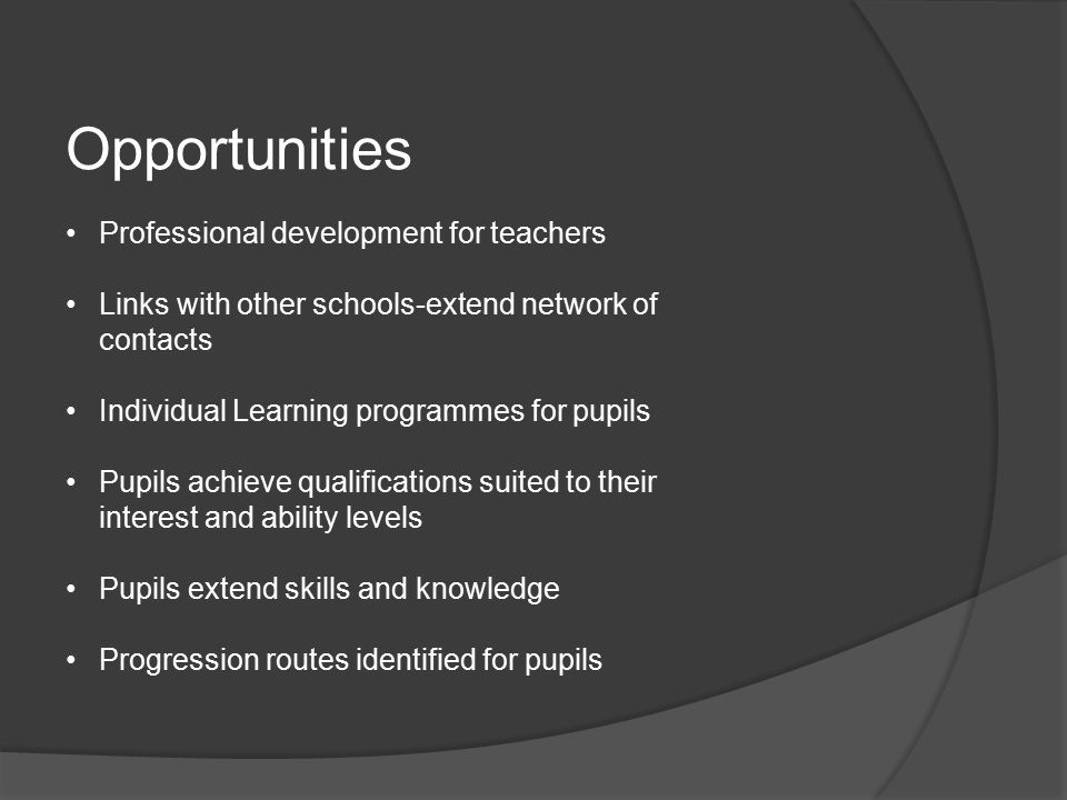 Challenges Timetables Providing pupil choices-viable class sizes Transport to other schools Role of examination officer-entries Entitlement Framework Audit