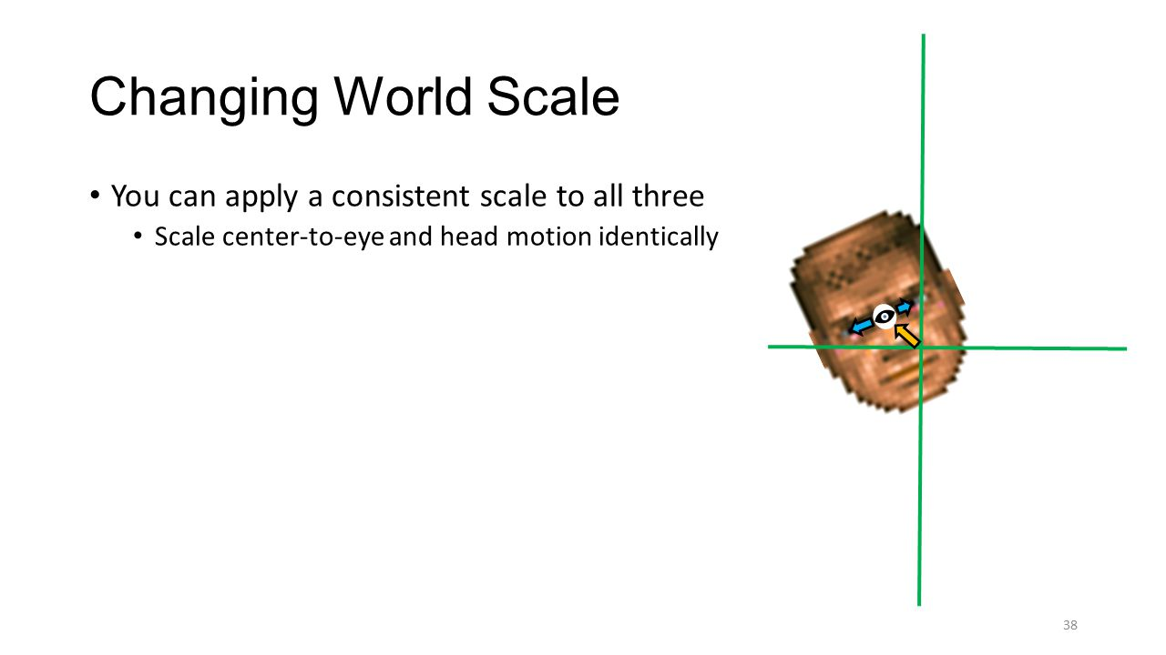 Changing World Scale 38 You can apply a consistent scale to all three Scale center-to-eye and head motion identically