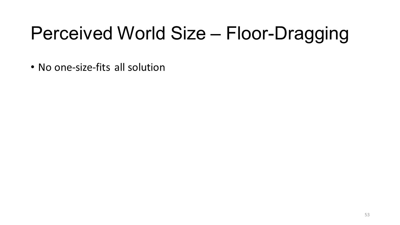 53 Perceived World Size – Floor-Dragging No one-size-fits all solution